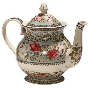 Aqua floral teapot - lovely :)