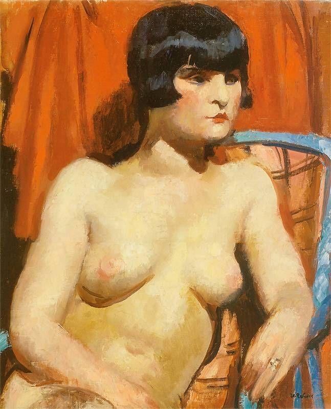 Wojciech Weiss - Modelka na tle czerwonej draperii, 1930