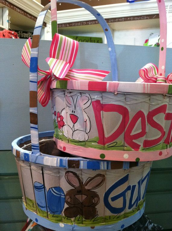 Handpainted Personalized Easter Baskets by metoyouart on Etsy, $40.00