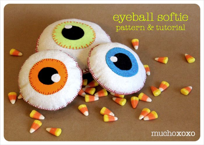 these eyeball softies make great halloween decorations or you can add some crinkle material and a rattle insert for a fun and spooky toy for a little