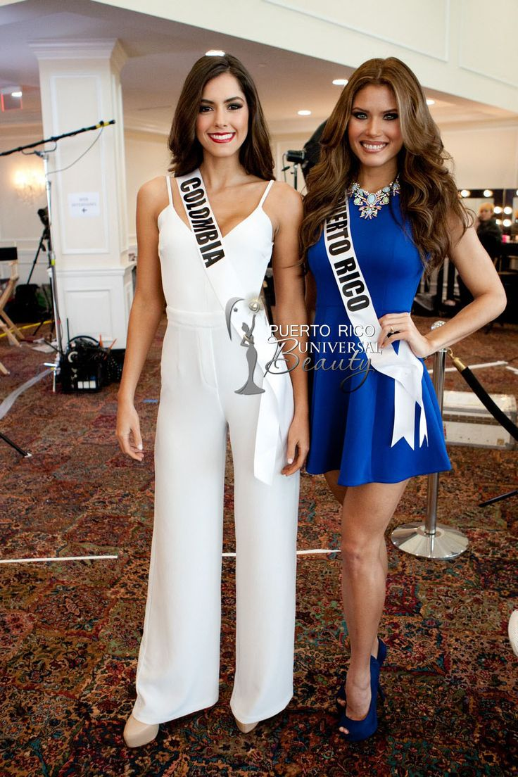 Paulina Vega, Miss Universe Colombia 2014, and Gabriela Berrios, Miss Universe Puerto Rico 2014, pose for photographs at the Trump National Doral Miami on January 6, 2015. #GabrielaBerrios #MUPR #MUPR2014 #MissPuertoRico #MissUniverse2014 #MissUniversePuertoRico #MissUniversePuertoRico2014  #PaulinaVegaDieppa #MissColombia #GabrielaBerriosPagan #Doral #Florida