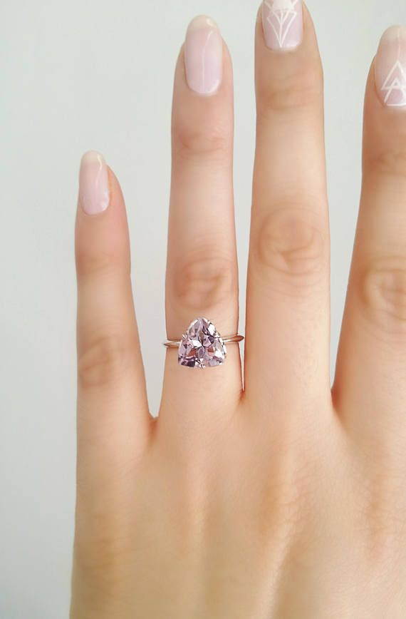 Amethyst Solitaire Ring Amethyst engagement ting 18K white