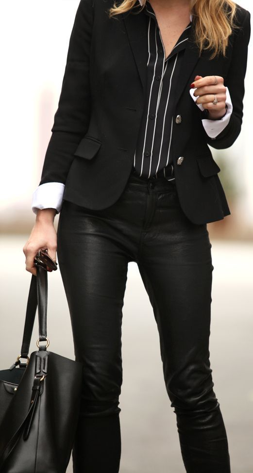 Lauren By Ralph Lauren Black Striped Shirt by Brooklyn Blonde