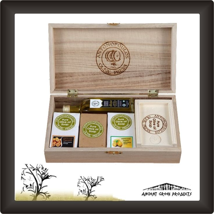 Gift packs – Configurations - Wooden case with 1 soap from olive oil, 2 soaps with essential oils, 1 cylinder soap case, 1 bottle 60ml of organic olive oil