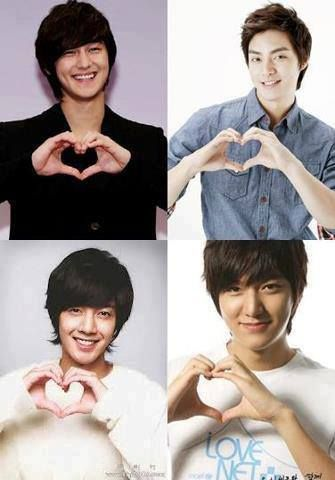 F4: Kim Bum as So Yi Jung, Kim Joon as Song Woo Bin, Kim Hyun Joong as Yoon Ji Hoo, and Lee Min Ho as Goo Jun Pyo