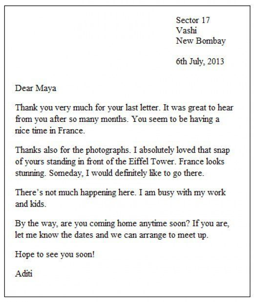 how to write a english letter sample