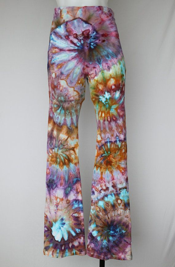 $52 - Tie dye Yoga Pants Ice Dyed   size Small  by ASPOONFULOFCOLORS   Find this item on https://www.etsy.com/shop/ASPOONFULOFCOLORS?ref=hdr_shop_menu