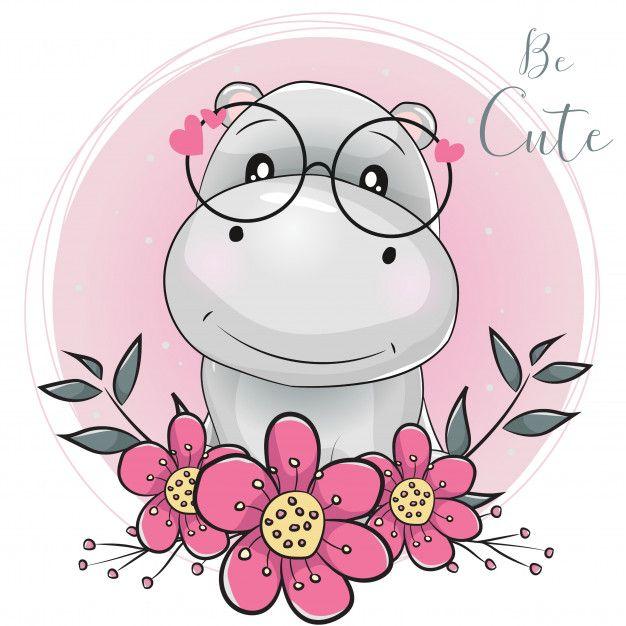 Cute Hippo Family Cartoon Family Cartoon Baby Animal Drawings Cute Hippo