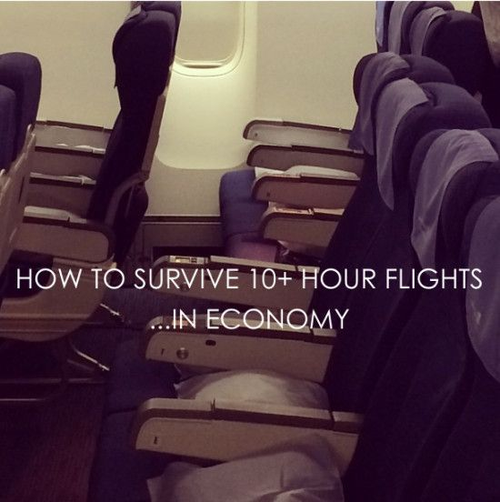 Surviving (Ungodly) Long Flights in Economy (Also, if your flight  has complimentary movies, abuse that privilege like it's a redheaded stepchild.  Don't watch the movies you've seen before and know you like and go for the ones you've either been meaning to see or think they look interesting.  Traveling's about trying new things, so why quit when you're on the plane?)