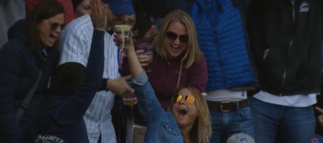 Cubs Fan Catches Foul Ball In Her Cup Of Beer, Chugs It