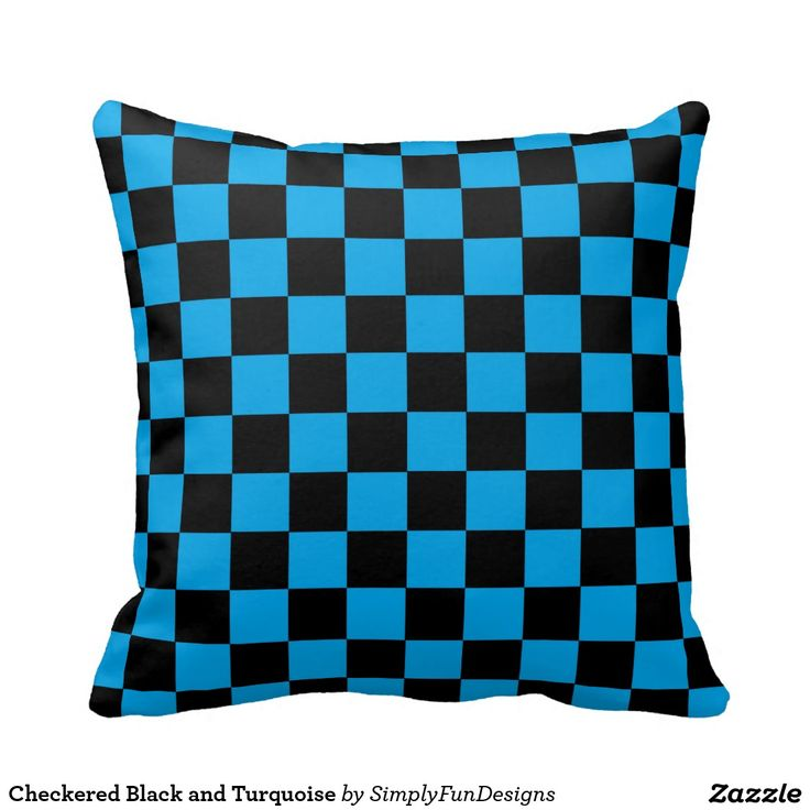 Checkered black and turquoise pillow turquoise pillows