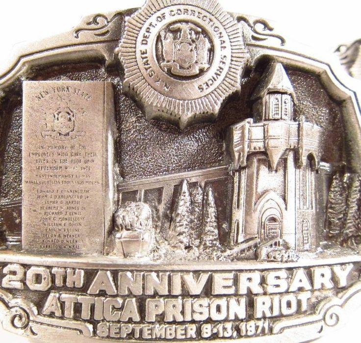 1971-1991 ATTICA PRISON RIOT 20th ANNIVERSARY 2 BELT BUCKLES LIMITED ED. 1/1300 #GreatAmericanBuckleCompany