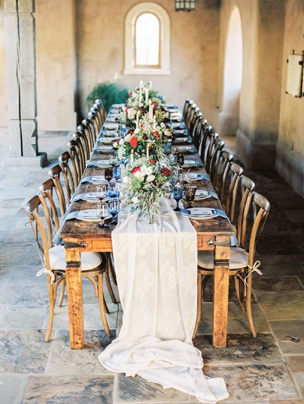 Farm Table with a Lace and Silk Runner | Rachel Solomon Photography | http://heyweddinglady.com/something-blue-bold-beautiful-wedding-shoot/