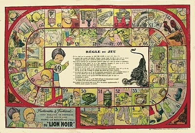 A promotional goose game for a shoe polish called Lion Noir. Artist: Beatrice Mallet.
