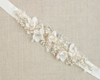 Bridal belts Wedding dress belts and sashes Flower by LeFlowers