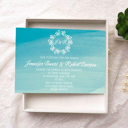 summer scuba blue beach watercolor wedding invitations EWI373 as low as $0.94