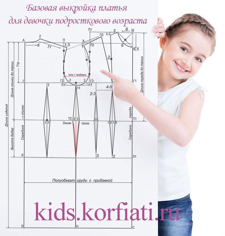 Базовая выкройка платья для девочки-подростка – строим основу. По базовой выкройке можно смоделировать любой фасон платья для девочки подросткового возраста