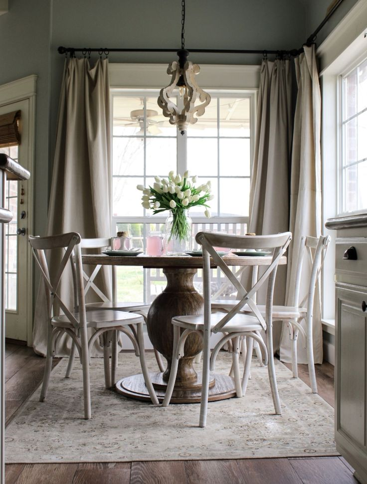 CottonStem.com farmhouse breakfast nook pedestal table x back chairs