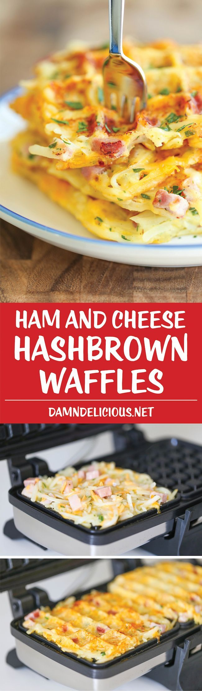 Ham and Cheese Hashbrown Waffles - Crunchy, yet silky smooth hashbrowns made right in the waffle iron. So quick, so easy, and just so darn good!