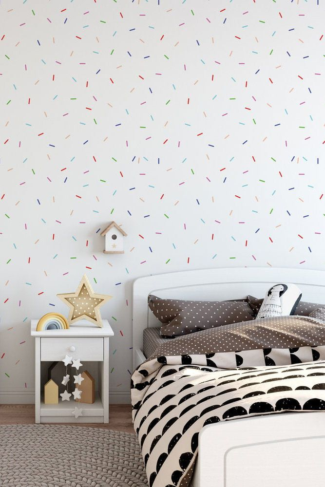 Rainbow Sprinkles Removable Wallpaper P129 27 Etsy Removable Wallpaper Nursery Cleaning Kids Room Removable Wallpaper