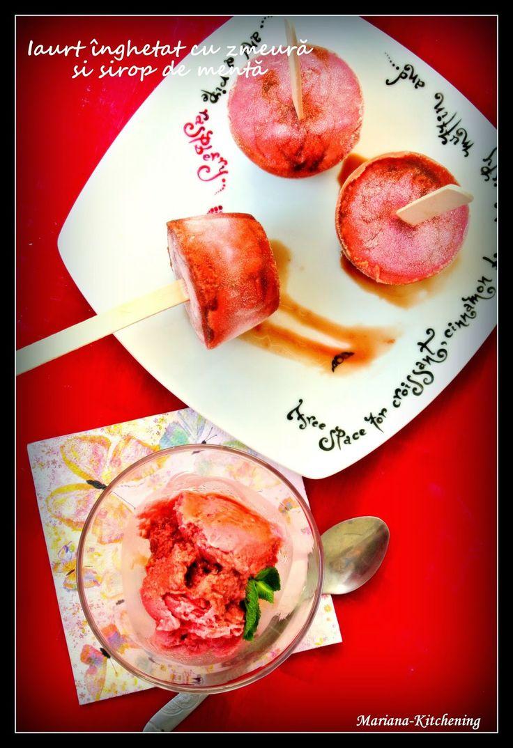 Kitchening: Iaurt înghețat cu zmeură și sirop de mentă/Frozen yogurt with raspberries and mint sauce