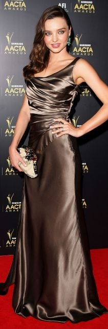 Who made Miranda Kerr's brown gown, shoes, and jewelry that she wore in Sydney on January 31, 2012?