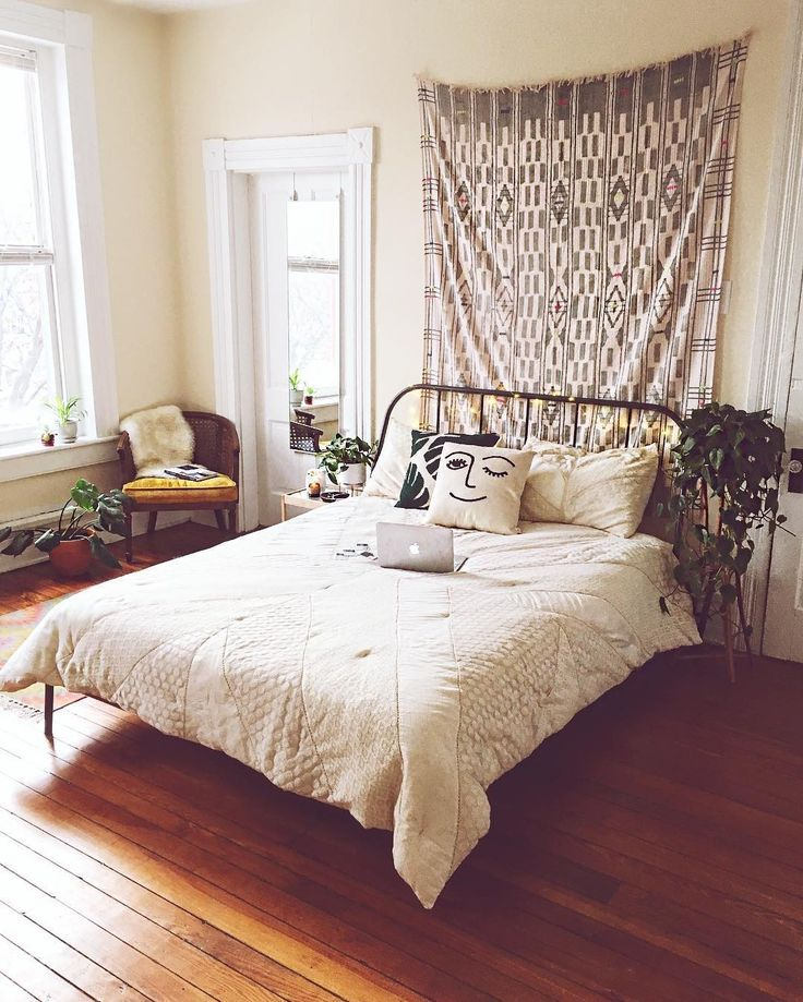 IKEA bed frame and soft neutral colors (With images