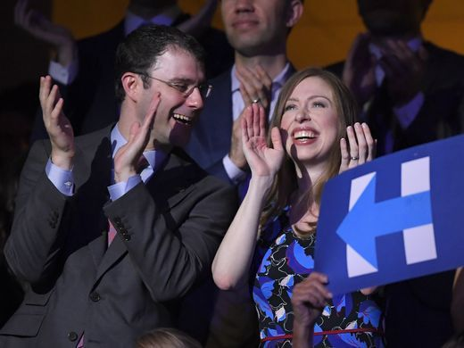 She got married!!!!Chelsea Clinton and husband Marc Mezvinsky smile as