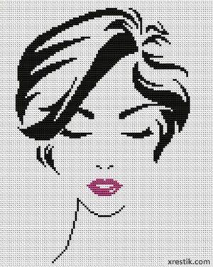 Стильная девушка №5 Люди Монохром  Схема для вышивки scheme for cross stitch