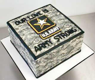US Army Love Camouflage Grooms Custom Cake