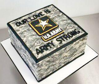US Army Love Camouflage Grooms Custom Cake