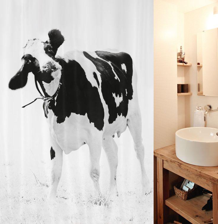 10.17895 - Teenie - Duschvorhang Textil - black-white. Hier bestellen oder gewinnen cows.spirella.ch #welovecows