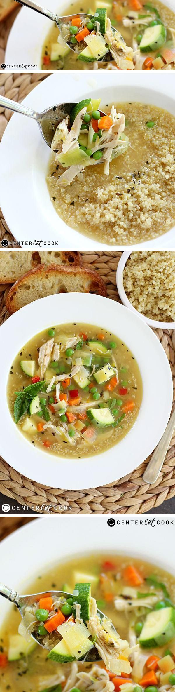 CHICKEN and QUINOA SOUP combines fresh vegetables, quinoa and a splash of lemon for a comforting, satisfying soup that's ready in 30 minutes! A delicious gluten-free alternative to classic chicken with rice or chicken noodle soup.
