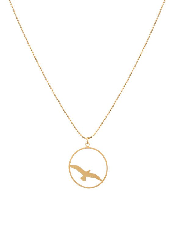 Gull Necklace, Sea Gull Silhouette, Long Necklace, Gold Necklace, Minimalist Necklace, Marine life Jewelry, Nature, sea life on Etsy, $39.90