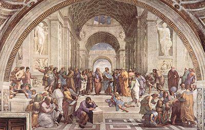 La escuela de Atenas, es una obra muy famosa realizada por Rafael, un pintor italiano, entre 1510 y 1512 aunque su boceto se realizó dos años antes, usando la técnica de pintura al fresco. Actualmente se encuentra en el Museo del Vaticano.