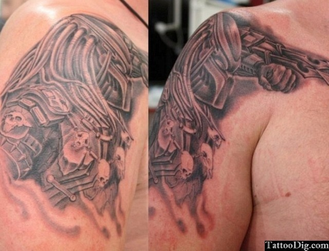 Predator Shoulder Tattoo
