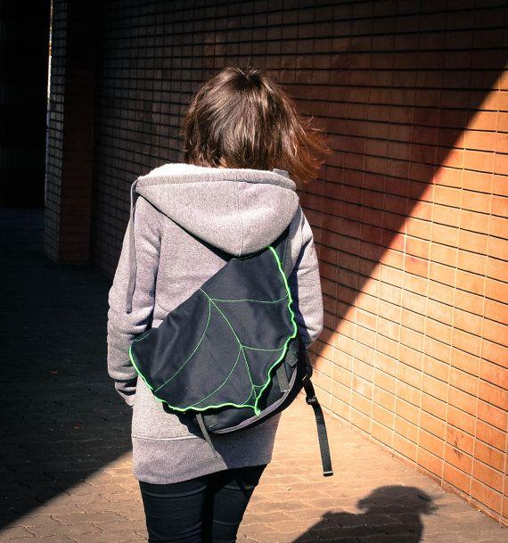 Black  Green Leaf Bike Messenger Bag Bicycle Bag by LeaflingoOo, $73.00