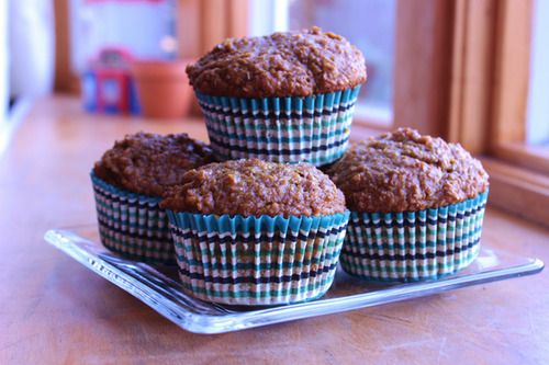 Pumpkin bran muffins, favourite muffin recipe by far, used almond milk, and bran buds, and added raisins and walnuts! Yummy