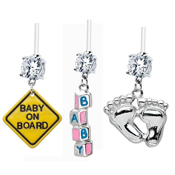 3-PACK Baby On Board, Building Blocks & Foot Prints Clear Gem Flexible 14g Pregnancy Navel Piercing Belly Rings - maternity body jewelry