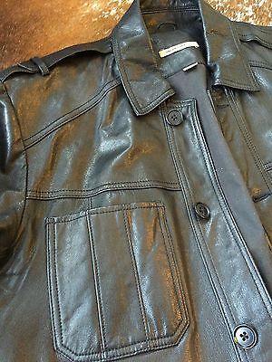 John Varvatos USA Denim Style Black Leather Jacket Size 44 / L US