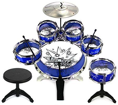 Velocity ToysTM 11 Piece Children's Kid's Musical Instrument Drum Play Set w/ 6 Drums, Cymbal, Chair, Kick Pedal, Drumsticks (Blue)