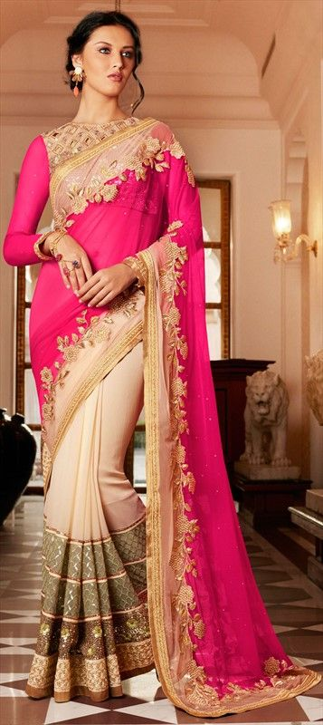 180892 Beige and Brown, Pink and Majenta  color family Party Wear Sarees in Georgette, Net fabric with Lace, Patch, Sequence, Stone, Zari work   with matching unstitched blouse.