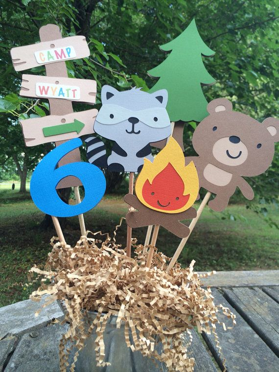Camp Theme Centerpiece/Cake Topper by PinkPaperCottage on Etsy