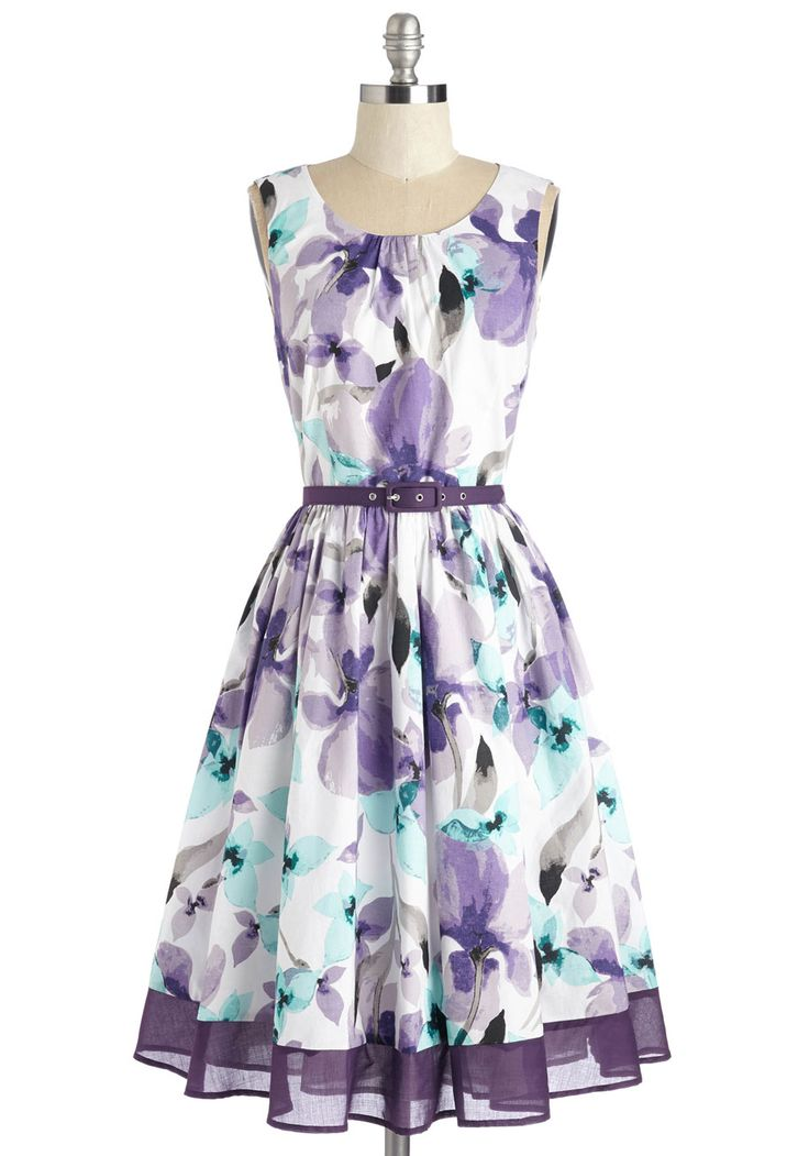 Spellbinding Ability Dress in Grape. Mesmerize the room with your effervescent presence in this white fit and flare by Myrtlewood - arriving in April. #purple #modcloth