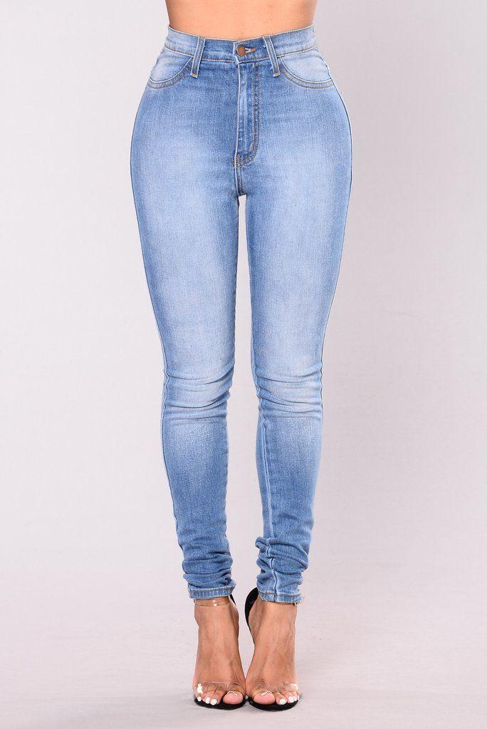 Classic High Waist Skinny Jeans Light Blue Wash Stuff