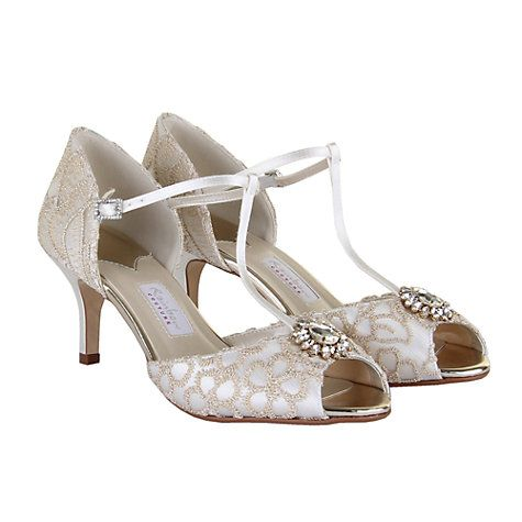 Buy Rainbow Club Marie T-Bar Peep Toe Court Shoes, Ivory Satin Online at johnlewis.com