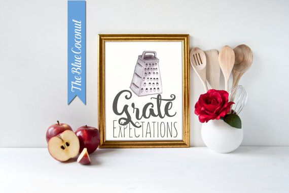 Kitchen Print Cheese Grater -hand drawn and painted Grate Expectations - Poster art decor cooking cook quote minimal funny quote pun
