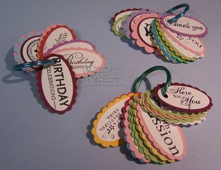 Go through your stamp sets, stamp the sentiments (thank you's, think of you, birthday and friend) on scraps of white cardstock. Punch them out, layer them with a color cardstock if desired, and write the name of the stamp set they are from on the back. Sort into categories and put them on rings. So when you want a thank you sentiment, it's quick and easy to sort through and find just the right sentiment!