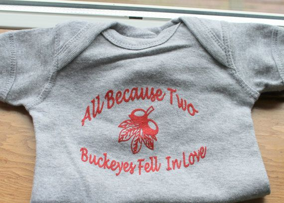 Ohio State Baby OnesieAll Because Two Buckeyes by thebuckeyelady