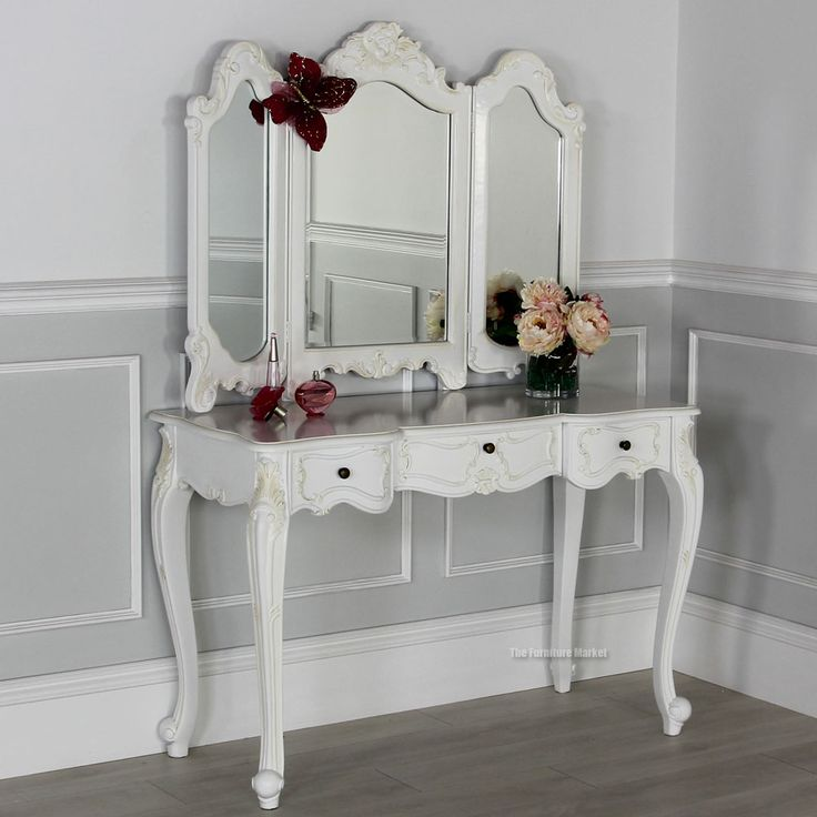 French Chateau White Dressing Table with 3 way Mirror ...